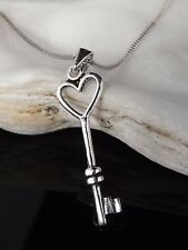 "Sterling Silver 925 Heart Key Pendant 16/18/20"" Necklace Jewellery Gift Box"