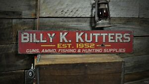 Custom Guns, Ammo & Fishing Sign - Rustic Hand Made Vintage Wood Sign