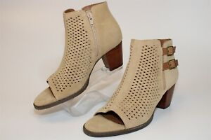 Vionic Chryssa Womens 7.5 38.5 Beige Perforated Suede Open Toe Booties Boots