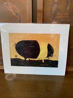 B&W Art Farm Warren Kimble Primitive Artist Print Home Decor Sow Swine FOLK