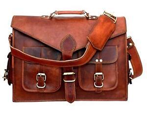 Messenger Shoulder Briefcase Laptop Bag Vintage Leather Men's Genuine Brown Goat