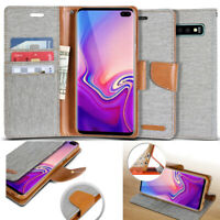 Canvas Diary leather wallet case flip book cover For Galaxy S10/iPhone XR/LG V40