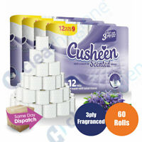 Cusheen Lavender 60 Toilet Tissue Rolls 3 Ply Luxury Quilt Bathroom Strong Paper