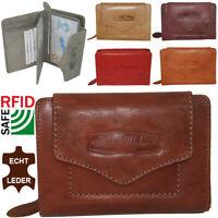 Damen Echt Leder Geldbörse mit RFID Schutz Portemonnaie Geldbeutel für Frauen