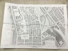 Antique London Map City Streets Euston Railway Station Victorian England 1870