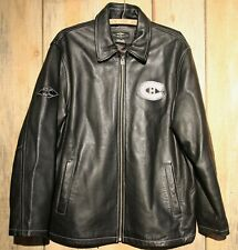 Montreal Canadiens Roger Edwards Reebok Black Leather Jacket + Rare NHL Large +