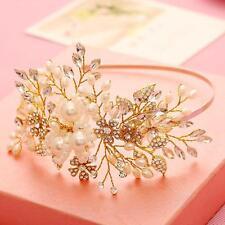 Gold Wedding Headband Bridal Flora Rhinestone Beaded Headpieces Hair Accessories