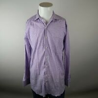 Peter Millar Purple White Long Sleeve Button Up Cotton Check Casual Shirt Mens M