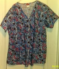 Dickies scrub top, womens, L, blue with flowers