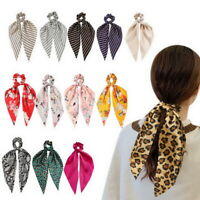 Women Girl Satin Ponytail Scarf Bow Band Ribbon Scrunchies  Ties Rope Hair AU