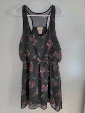 Eyelash Couture Print Semi-Sheer Lined Mini Chiffon Summer Cocktail Dress Size L