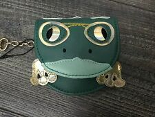 NEW LOVELY GREEN & GOLD FROG PURSE WITH KEYRING CHAIN–BAG CHARM / COIN PURSE
