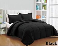 All Season Down Alternative Comforter Egyptian Cotton Black Solid Queen Size