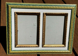 Double Picture Frame Inside 4-1/4 x 2-3/4 Glass 3 x 5 pictures Green Gold Bronze