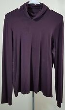 Eileen Fisher Brown Rayon Jersey Turtleneck Long Sleeves Top Size L
