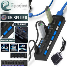 7/4 Port USB 3.0 High Speed Hub Splitter Expansion Power Adapter for Laptop Mac