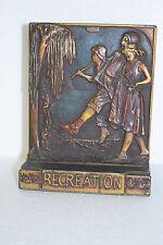 Antique Copper / Brass Americana Bookend Book End - Recreation