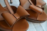 Designer Red Valentino High Heel Beige Shoes Bows Handmade 40 Wood Leather
