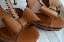 New with Box RED VALENTINO Shoes Handmade ITALY 40 Wood Leather Heels DISCOUNTED