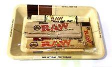 RAW Mini Rolling Tray GIFT SET Kingsize Papers Tips Tin Bamboo Rolling Mat Set