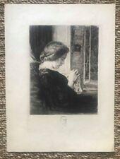 Belle Eau Forte XIXème sur papier Japon - La Brodeuse