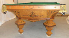 Antique Pool Table  J E Came made Brilliant Novelty STYLE  9 ft. Birds-eye maple
