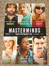 "MASTERMINDS  11""x17"" Original Promo Movie Poster - Owen - Wiig - Galifianakis"