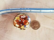 Unique Large Vintage Cloisonne and Brass Chinese Bead 1-3/4 inches