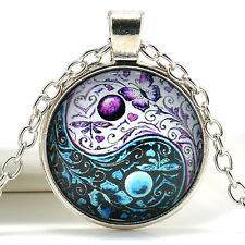 Ying Yang Butterfly Pendant Tibet Silver Chain Necklace Cabochon Glass Jewelry