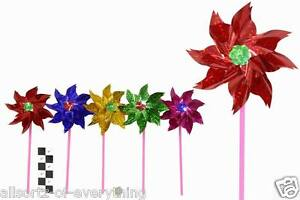 6 x Foil Holographic 19cm Garden Windmill - Assorted Colours Windmills
