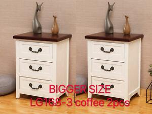 Hard Wood Set of 2 Elegant Strong Solid Wood Nightstand Drawer End Table Bedside