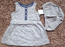 NWT Girl's Size 3 M 0-3 Months Two Piece Gray/ Navy Floral Pocket Dress & DC Set
