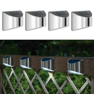 8Pc LED SOLAR FENCE WALL LIGHTS GARDEN SECURITY OUTDOOR POST STEP