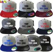 New Printed Text Logo Custom Personalized Flat Bill Premium Snapback Hat Cap