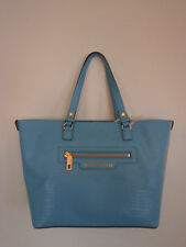 Juicy Couture Large Sophia Blue Leather Tote Shoulder Bag Purse Handbag