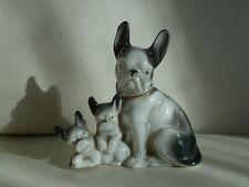 sculpture en porcelaine art deco 1920 chien bouledogue francais french bulldog
