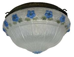 1920s Art Deco Frosted Glass Bronze Round Bowl Pendant Light Phoenix Chandelier