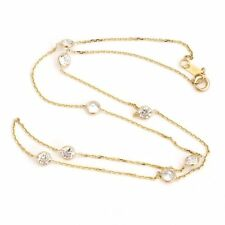 """14k Yellow Gold Cubic Zirconia CZ Station Necklace, 16"""""""