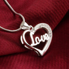 Cute Women Fashion Silver Plated Heart Pendant Necklace Chain Jewelry Love Gift