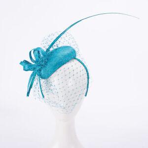 Teardrop Women Veil Netting Sinamay Fascinator Wedding Racing Hat Headpiece T436