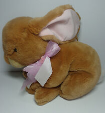 """15"""" Commonwealth large stuffed plush Bunny Rabbit with pink bow Easter flowers"""