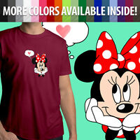 Minnie Mouse Love Mickey Disney Heart Romantic Unisex Mens Tee Crew Neck T-Shirt