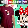 Minnie Mouse Love Mickey Disney Heart Romantic Unisex Mens Tee Crew Neck T-Shirt