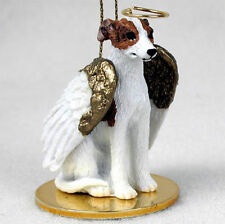 Whippet Ornament Angel Figurine Hand Painted Brindle/White