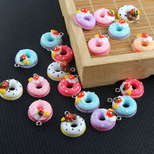 10X Mixed Color Resin Doughnut/Bread/Cake Charm Pendant 22*17mm Jewelry Findings