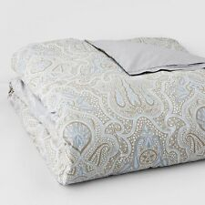 Bloomingdales Zanzibar 1872  FULL/QUEEN Pewter Blue Duvet Cover Retail $355+tax