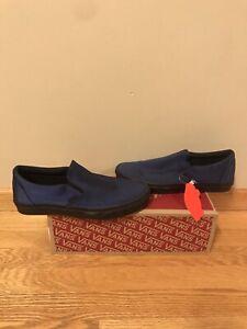 "Vans Slip-On Metallic Twill ""Dress Blues"" Size 9 Skate Shoe"