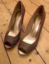 New M&S Collection Ladies Brown Black Snake Print Peep Toe Shoe UK 6/391/2
