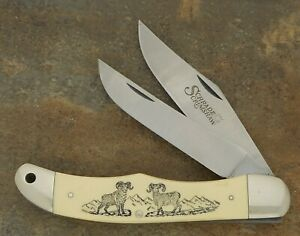 SCHRADE USA 1983 SCRIMSHAW RAMS FOLDING HUNTER KNIFE SC508