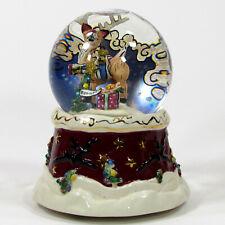 "Heather Goldminc RUDOLPH 6.5"" Musical Glitter Globe Snow Christmas Tree Blue Sky"